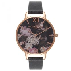 Olivia Burton Signature Floral Black & Rose Gold 38mm OB15WG12