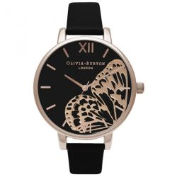 Olivia Burton Applied Wing Black & Rose Gold 38mm OB16AM97