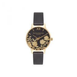 Olivia Burton Lace Detail Black & Gold 30mm OB16MV60