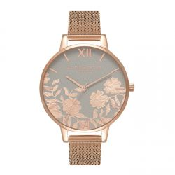 Olivia Burton Lace Detail Grey & RoseGold Mesh 38mm OB16MV65