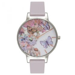 Olivia Burton Painterly Prints Butterfly Grey Lilac Silver & RoseGold 38mm OB16PP15