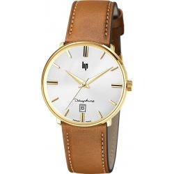 Montre Homme Lip Dauphine 38mm cuir camel 671428 - Dauphine 38
