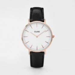 Montre Femme Cluse La Bohème Rose Gold White/Black Lizard 38mm CL18037