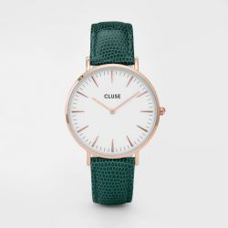 Montre Femme Cluse La Bohème Rose Gold White/Emerald Lizard 38mm CL18038