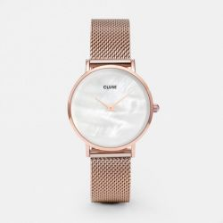 Montre Femme Cluse Minuit La Perle Mesh Rose Gold/White Pearl 33mm CL30047