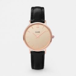 Montre Femme Cluse Minuit Rose Gold Champagne/Black Lizard 33mm CL30051