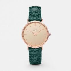 Montre Femme Cluse Minuit Rose Gold Champagne/Emerald Lizard 33mm CL30052