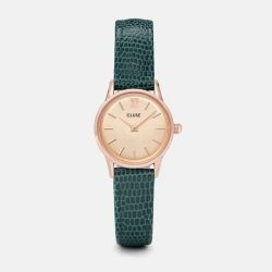 Montre Femme Cluse La Vedette Rose Gold Champagne/Emerald Lizard 24mm CL50029