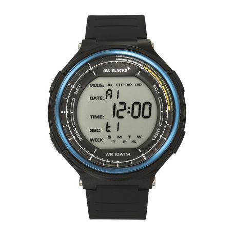 Montre All Blacks digitale lunette bleue 680410