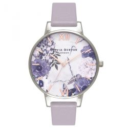 Olivia Burton Marble Floral Grey Lilac, Rose Gold Silver 38mm OB16MF05