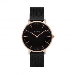 Montre Femme Cluse La Bohème Mesh Rose Gold Black/Black 38mm CL18034