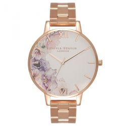 Olivia Burton Watercolour Florals Silver & Rose Gold 38mm OB16PP38