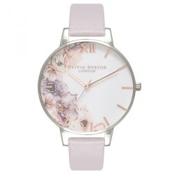 Olivia Burton Watercolour Florals Grey Lilac Rose Gold & Silver 38mm OB16PP32
