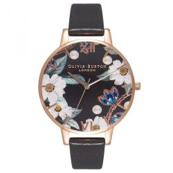 Olivia Burton Bejewelled Florals Black Rose Gold 38mm OB16BF04