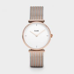 Montre Femme Cluse Triomphe 33mm Rose Gold Bicolour Mesh CL61003