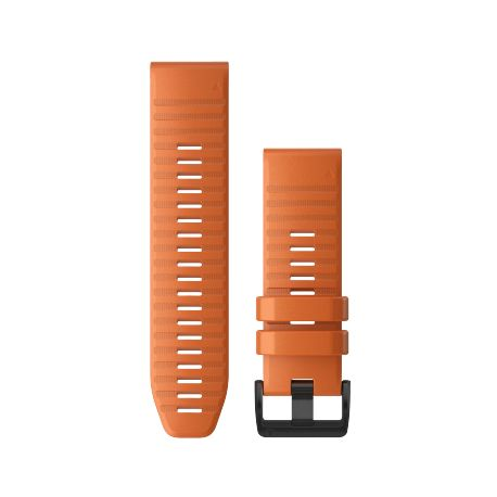 Bracelet Garmin Quickfit 26 silicone orange Compatible Fenix 6X 010-12864-01