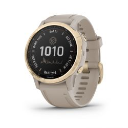 Montre Garmin fenix® 6S Pro Solar Light Gold / bracelet beige 010-02409-11