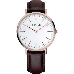 Montre Bering Homme rose gold / cuir marron 13738-564