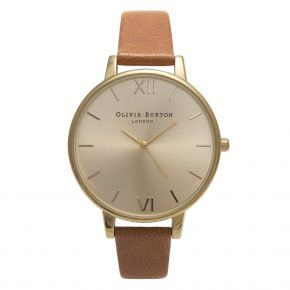 Montre Femme Olivia Burton Big Dial Tan and Gold OB13BD09