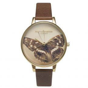 Montre femme Olivia Burton Woodland Butterfly Brown and Gold OB13WL11