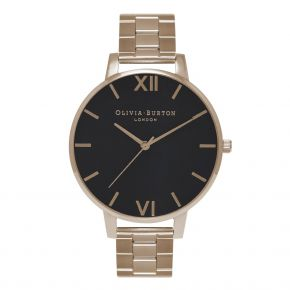 Montre Femme Olivia Burton Big Dial Bracelet Black Dial and Rose Gold OB15BL23