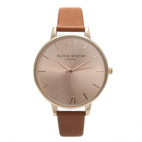 Montre Femme Olivia Burton Big Dial Tan and Rose Gold OB15BD70