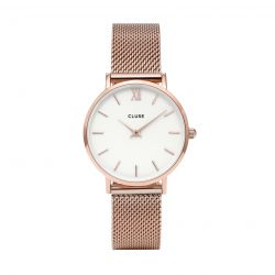 Montre Femme Cluse Minuit Mesh Rose Gold/White 33mm  CL30013