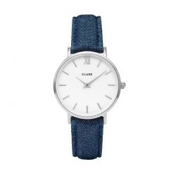 Montre Femme Cluse Minuit Silver White/Blue Denim 33mm  CL30030