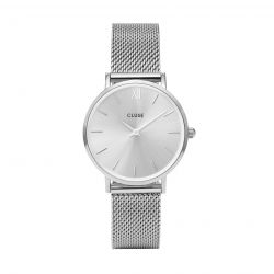 Montre Femme Cluse Minuit Mesh Full Silver 33mm   CL30023