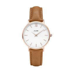 Montre Femme Cluse Minuit Rose Gold White Caramel 33mm CL30021