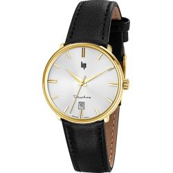 Montre Homme Lip Dauphine 38 gold cuir date - 671426