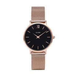 Montre Femme Cluse Minuit Mesh Rose Gold Black 33mm CL30016