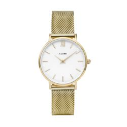 Montre Femme Cluse Minuit Mesh Gold White 33mm CL30010